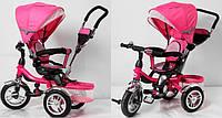 """Велосипед для малышей с ручкой TR16001, розовый, 3-хколесный 12/10"""", корзинка для игрушек"""