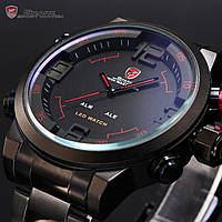 Наручные часы 3D Shark Digital LED Date Day Alarm Quartz Analog Army Sport Watch Red SH105