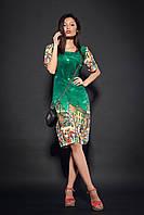 Женское шифоновое платье с принтом. Код модели Л-36-25-16. Цвет зеленый.