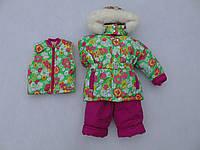 Детский зимний термокомбинезон р.80-104 девочкам салатовый с розовым теплющий до -30 мороза