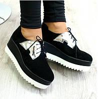 Туфли криперсы на шнурках замшевые черные