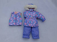 Детский зимний термокомбинезон р.80-104 девочкам сиреневый в цветы теплющий в лютый мороз