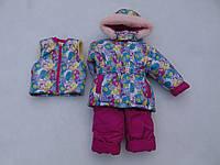 Детский зимний термокомбинезон Зимушка р.80-104 девочкам малиновый с бирюзовым абстракт