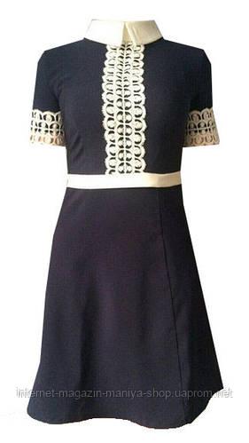 Платье женское, отделка кружевом