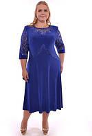 Платье женское полу батал, со вставками гипюра