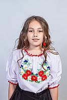 Симпатичная белая детская блуза с вышивкой (О.Л.С)
