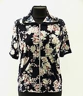 """Женская блузка """"Астра"""" пудра на молнии с капюшоном, 50-60 размер"""