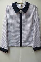 Школьная блузка с длинными рукавами (креп шифон)