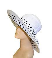 Шляпа цветная поляна белая широкие поля