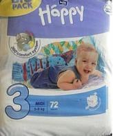 Детские подгузники HAPPY BELLA MIDI 3 (5-9кг) 72шт