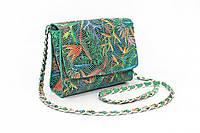 Женская кожаная сумка - клатч, маленькая сумочка через плечо яркой летней расцветки
