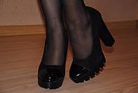 """Туфли черные """"КАРИНА лак нос"""" код 1047"""