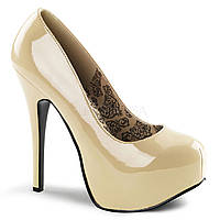 Телесные лаковые туфли на высоком каблуке и со скрытой платформой
