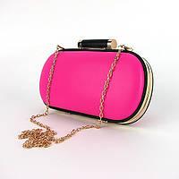 Розовая маленькая сумочка клатч-бокс женская