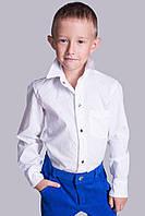 Рубашка для мальчика белая в мелкий цветной горох
