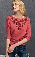 Женская блуза из вискозы с рукавом три четверти кораллового цвета. Модель Sarina Zaps.