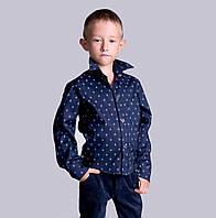 Стильная рубашка для мальчика на необычных кнопках - ромбиках