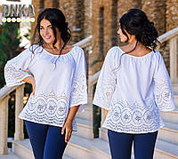 Женская батальная блузка из хлопка с перфорацией