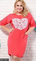 Повседневное летнее женское платье  свободного фасона с аппликацией из кружева рукав три четверти лен батал