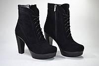 Женские ботинки на устойчивом каблуке, натуральный замш. Возможен отшив в других цветах кожи и замши