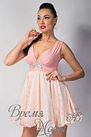 Платье летнее коктейльное с украшением. /Бело-розовое/ 7 цветов.