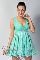 Платье летнее коктейльное с украшением - камни. /Бирюзовый/ 7 цветов.