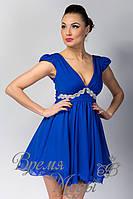 Платье летнее коктейльное с украшением. /Синий/ 5 цветов.