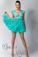 Платье летнее коктейльное с украшением. /Бирюзовое/. 5 цветов.