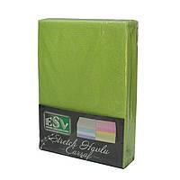 Махровая простынь на резинке 160*200 с наволочками, зеленая