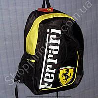 Рюкзак Ferrari 114224 черный с желтым спортивный школьный размер 27 см х 38 см х 22 см объем 20 л