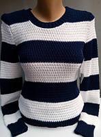 Полосатый свитер, черный+белый