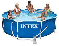 Круглый каркасный бассейн Metal Frame Pool Intex 28202 (305-76 см.) + Фильтрующий насос