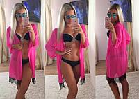 Женская шифоновая пляжная накидка со вставкой кружева