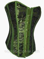 Корсет зеленого цвета с черным кружевом