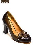 Женские туфли из натуральной кожи коричневого цвета на высоком каблуке