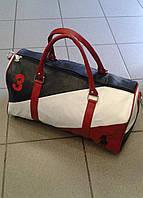 Сумка синяя белая красная спортивная  из кожзама (Турция)
