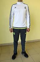 Мужской спортивный костюм  Adidas CF 99985 белый с серым и зеленым код 356 б