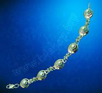 Серебряный браслет с золотыми пластинами «Жемчужная сказка»