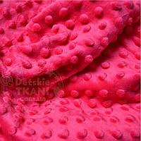 Лоскут ткани minky М-14 размером 80*80 см малинового цвета