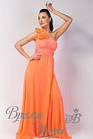 Вечернее платье с цветком. /Персиковое/. 8 цветов.