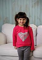 Детский реглан для девочки сердце красный хлопковый