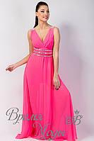 Вечернее длинное шифоновое платье, со стразами и вырезом декольте. /Розовое/ 8 цветов.