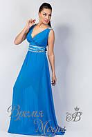 Вечернее длинное шифоновое платье, со стразами и вырезом декольте. /Голубой/ 8 цветов.
