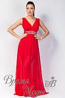 Вечернее длинное шифоновое платье, со стразами и вырезом декольте. /Красное/ 8 цветов.