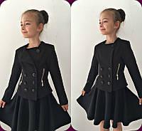 Черный стильный пиджак для девочки 122-134рост