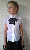 Блузка на девочку с бантиком короткий рукав  мар1021