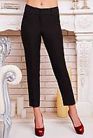 Темно коричневые узкие женские брюки длиной по щиколотку с косыми карманами из костюмного шелка