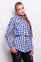 Длинная женская коттоновая рубашка в синюю клетку с ремешком