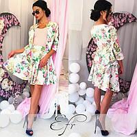 Женский костюм тройка в цветы юбка + пиджак + кофта размеры С М Л