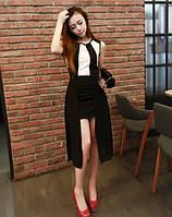 Платье черное с белыми полосками на лифе,  юбка увенчана воздушной вуалью